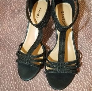 Sparkly black T-strap heels Size 7